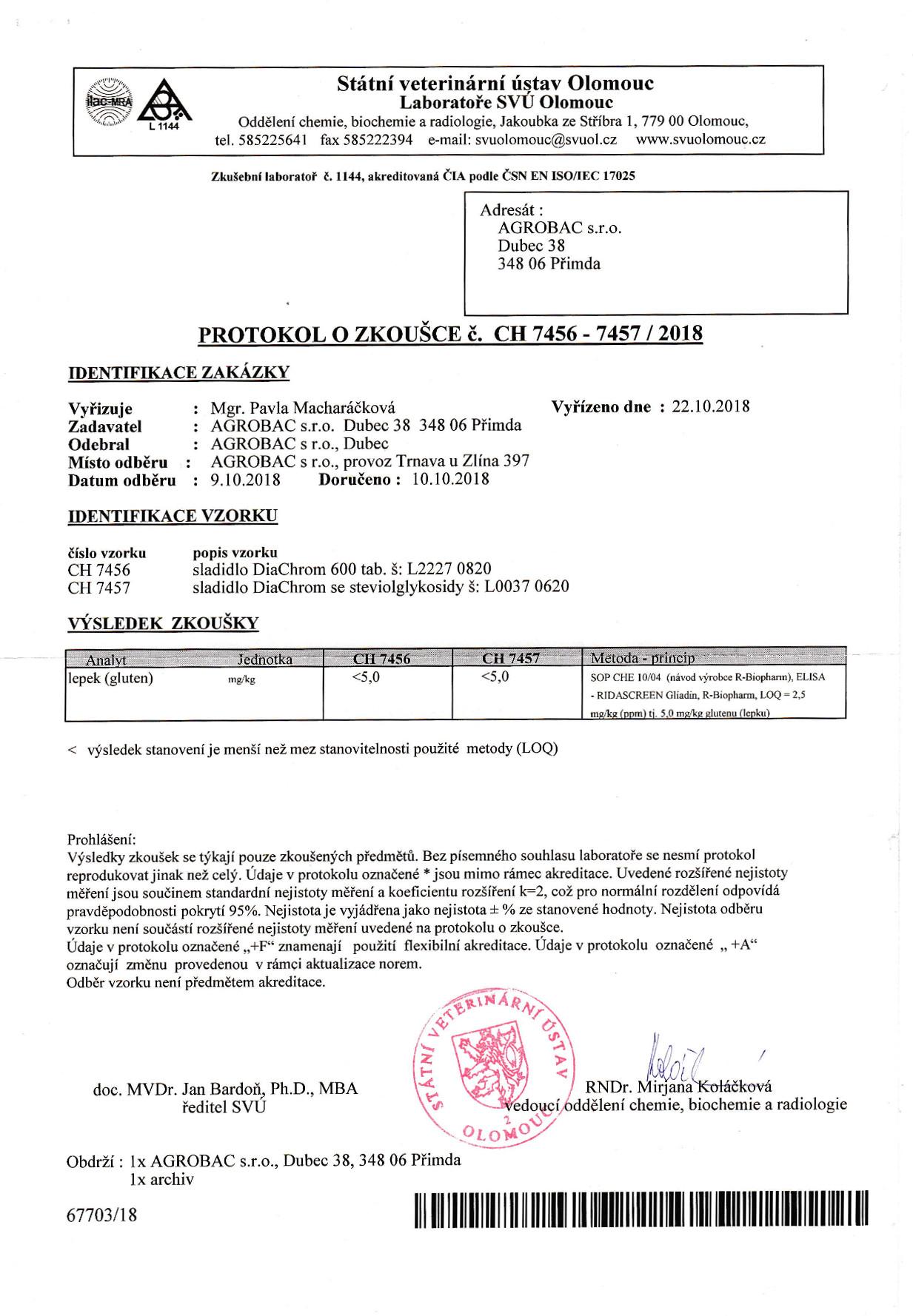 Protokol o zkoušce 2018